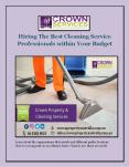 Hiring The Best Cleaning Service Professionals within Your Budget PowerPoint PPT Presentation