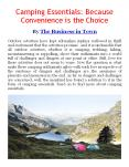 Camping Essentials: Because Convenience is the Choice PowerPoint PPT Presentation