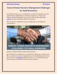 General Human Resource Management Challenges for Small Businesses PowerPoint PPT Presentation