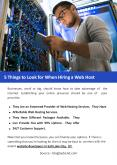 5 Things to Look for When Hiring a Web Host PowerPoint PPT Presentation