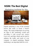 NSIM: The Best Digital Marketing Institute for You PowerPoint PPT Presentation