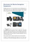 Electronics for Marine Navigation Equipments PowerPoint PPT Presentation