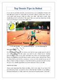 Top Tennis Tips in Dubai PowerPoint PPT Presentation