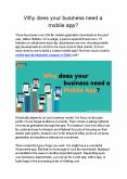 Why does your website/business need a mobile app? PowerPoint PPT Presentation