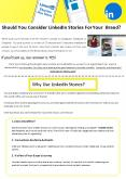 Should You Consider LinkedIn Stories For Your Brand PowerPoint PPT Presentation