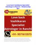 Love back Vashikaran Specialist Astrologer in Ranchi - Relationship tips PowerPoint PPT Presentation