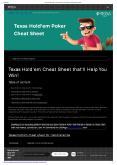 Poker Cheat Sheet PowerPoint PPT Presentation