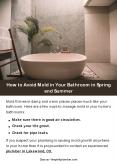 How to Avoid Mold in Your Bathroom in Spring and Summer PowerPoint PPT Presentation