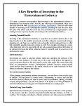 4 Key Benefits of Investing in the Entertainment Industry PowerPoint PPT Presentation