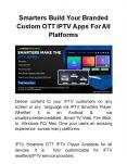 Fully customizable And Brandable OTT IPTV Apps For All Platforms PowerPoint PPT Presentation