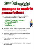 Your practice is reviewing patients prescribed enteric coated aspirin preparations' These include: PowerPoint PPT Presentation