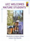 UCC WELCOMES MATURE STUDENTS PowerPoint PPT Presentation