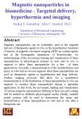 Magnetic nanoparticles in biomedicine Targeted delivery, hyperthermia and imaging PowerPoint PPT Presentation