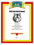 Wolf Cub Spirit Award PowerPoint PPT Presentation