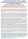 LA INCORPORACIN DEL CINE Y OTROS RECURSOS AUDIOVISUALES A LA ENSEANZA DEL DERECHO ROMANO Ramn Herrer PowerPoint PPT Presentation