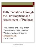 Differentiation Through the Development and Assessment of Products PowerPoint PPT Presentation