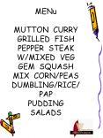 MENu MUTTON CURRY GRILLED FISH PEPPER STEAK WMIXED VEG GEM SQUASH MIX CORNPEAS DUMBLINGRICE PAP PUDD PowerPoint PPT Presentation