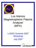 Los Alamos Magnetospheric Plasma Analyzer MPA PowerPoint PPT Presentation