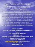 Water Quality and Fish Health Maintenance in Aquaculture Production Systems Maintenance of good wate PowerPoint PPT Presentation