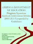 ARIZONA DEPARTMENT OF EDUCATION Program Operations Academic Achievement Division 2008 LEA Comparabil PowerPoint PPT Presentation