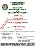 TOASTMASTERS DISTRICT 47 DIVISION B HUMOROUS SPEECH AND EVALUATION CONTEST PowerPoint PPT Presentation