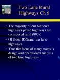 Two Lane Rural Highways Ch 6 PowerPoint PPT Presentation