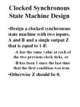 Clocked Synchronous State Machine Design PowerPoint PPT Presentation