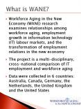Workforce Aging in the New Economy WANE research examines relationships among workforce aging, emplo PowerPoint PPT Presentation