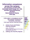 Information competence across the campus: the experience at Seton Hall University, South Orange, N'J PowerPoint PPT Presentation