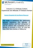 Inclusion in a Childcare Context: Experiences and Attitudes of Childcare Workers PowerPoint PPT Presentation