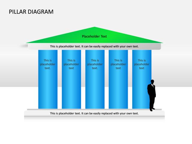 Powerpoint Slide Pillar Diagram 3d Blue 5 Pillars Cg 41 Crystalgraphics Com