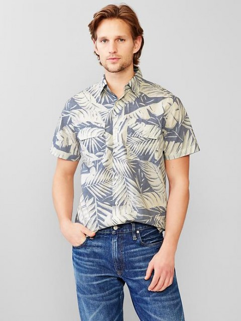 Gap Oversized palm print popover shirt
