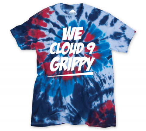 "CLOUD 9 ""WE CLOUD 9 GRIPPY"" INDEPENDENCE T-SHIRT IN TIE DYE"