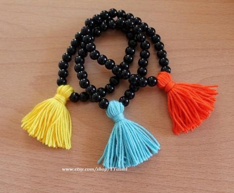 TTassel Wholesale Bracelet Black Beaded Orange