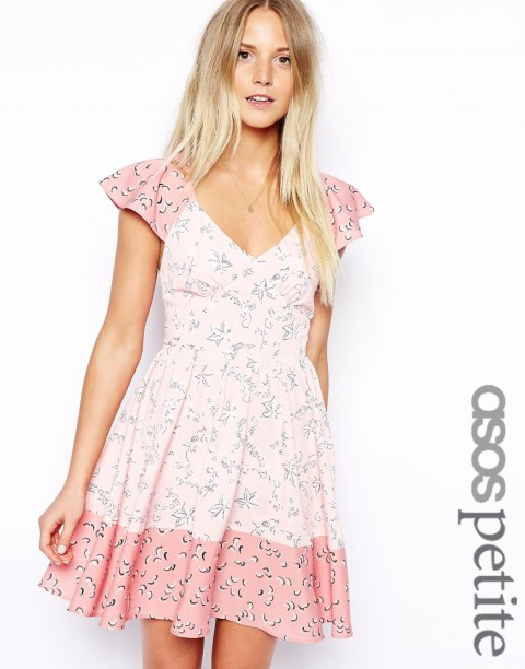 ASOS PETITE ASOS PETITE Exclusive Ruffle Sleeve Tie Mix Print Skater Dress