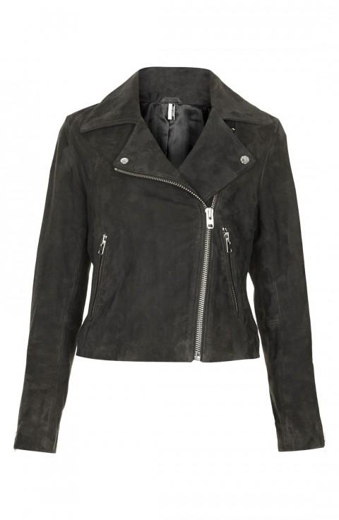 Topshop Suede Biker Jacket