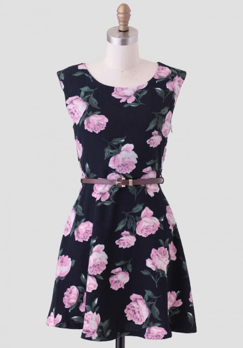 Ruche Lilac Blossoms Belted Dress
