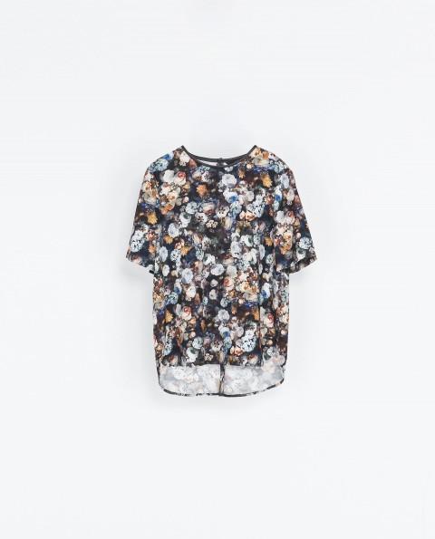 Zara Multicolor Piped Printed Top