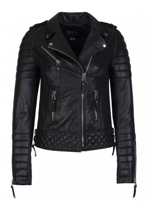 Boda Skins Kay Michaels Oil Black Quilted Biker Jacket
