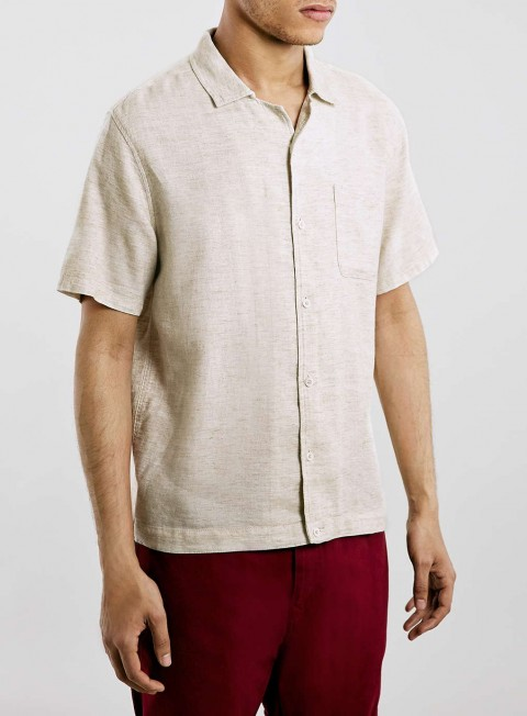 TOPMAN Ltd Montauk Surf Off White Linen Shirt