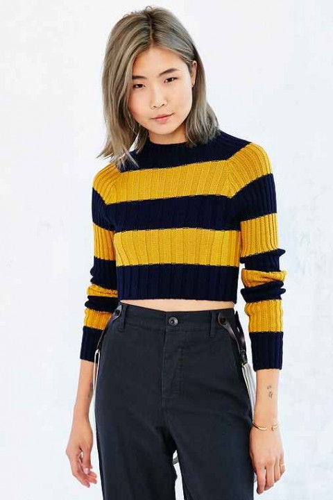 BDG Casey Ribbed-Knit Cropped Sweater