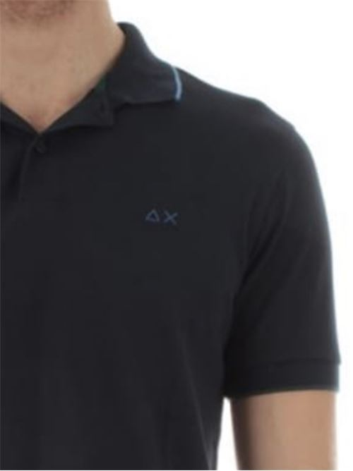 polo small stripes on collar Navy Blue Sun 68 | Polo | A3111007