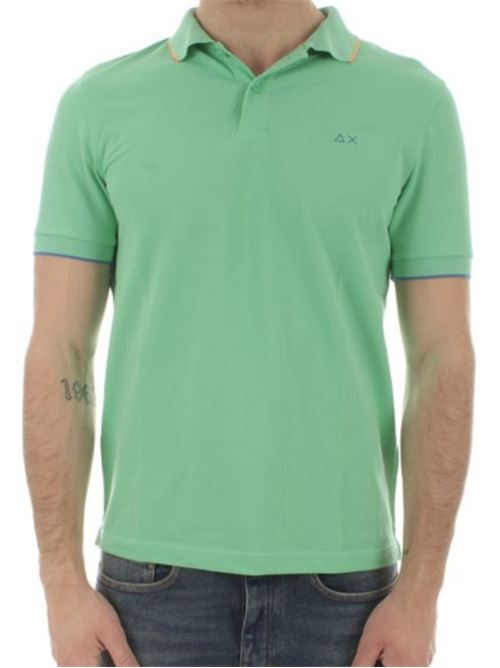 polo small stripes on collar verde chiaro Sun 68 | Polo | A3111028