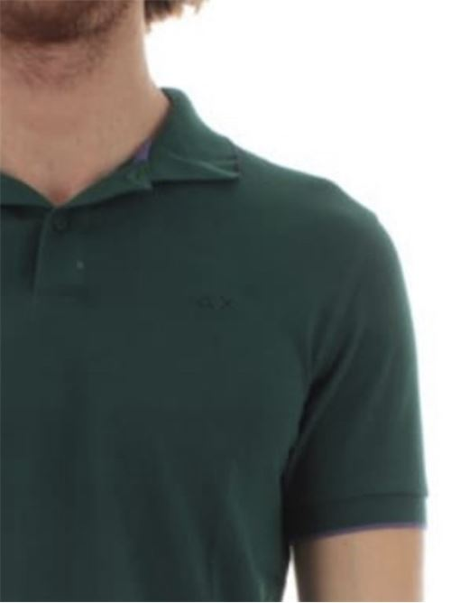 polo small stripes on collar verde inglese Sun 68 | Polo | A3111050