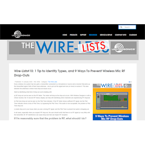 """Lectrosonics Introduces """"The Wire-Lists"""""""