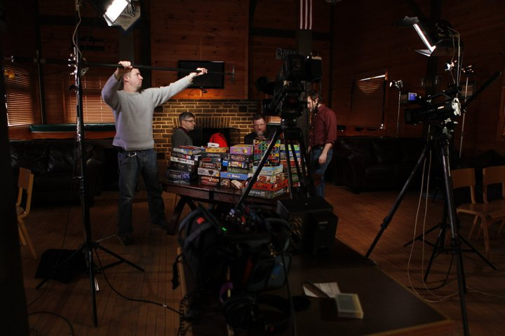 Setting up sound for the CBS Sunday morning show with Mo Rocca