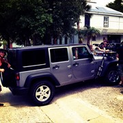 Rigging jeep for sound and camera