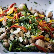 broccoli rabe and sauted mushrooms