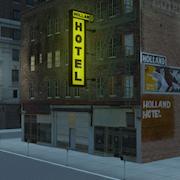 Digital set of 7th Avenue, LosAngeles skid row created in Autodesk Maya and Photoshop.