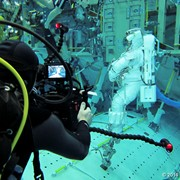 Jonathan filming inside the Neutral Buoyancy Lab at the Johnson Space Center, Houston, TX, where astronauts are trained for space walks.